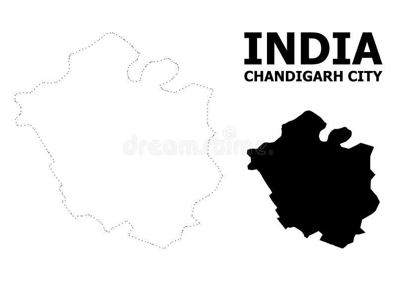 Mappa punteggiata contorno di vettore della citt? di Chandigarh con il titolo illustrazione di stock