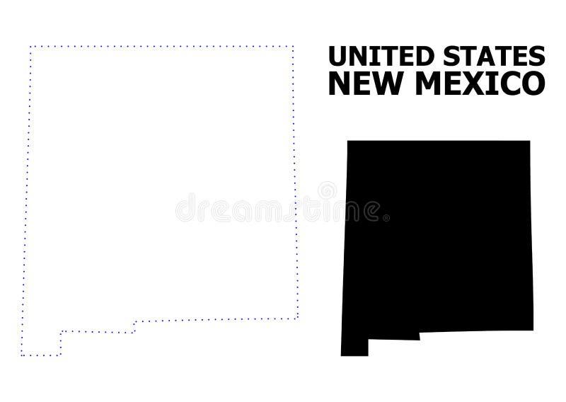 Mappa punteggiata contorno di vettore dello stato del New Mexico con il titolo royalty illustrazione gratis
