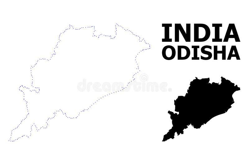 Mappa punteggiata contorno di vettore dello stato di Odisha con il titolo royalty illustrazione gratis