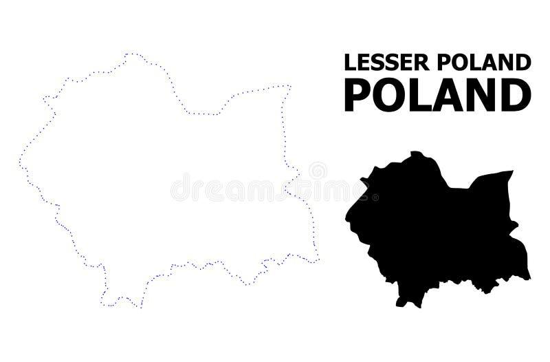 Mappa punteggiata contorno di vettore di Lesser Poland Province con il titolo illustrazione di stock