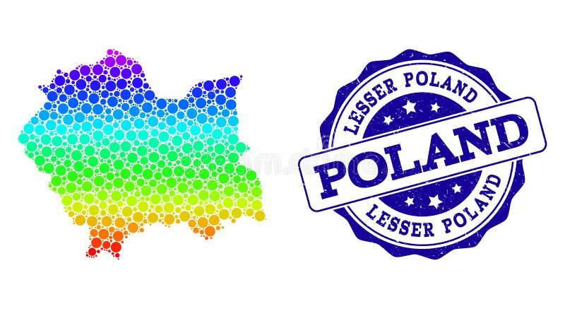 Mappa punteggiata di spettro di Lesser Poland Province e della guarnizione del bollo di lerciume royalty illustrazione gratis