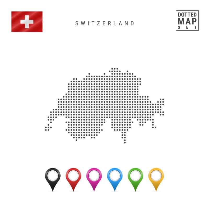 Mappa punteggiata vettore della Svizzera Siluetta semplice della Svizzera Bandierina della Svizzera Insieme degli indicatori mult illustrazione vettoriale