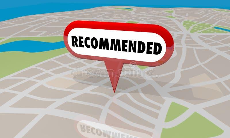Mappa raccomandata Pin Review del deposito di posizione illustrazione vettoriale