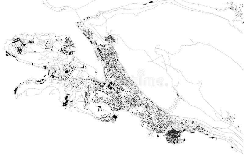 Mappa satellite di Ragusa, Croazia, vie della città royalty illustrazione gratis