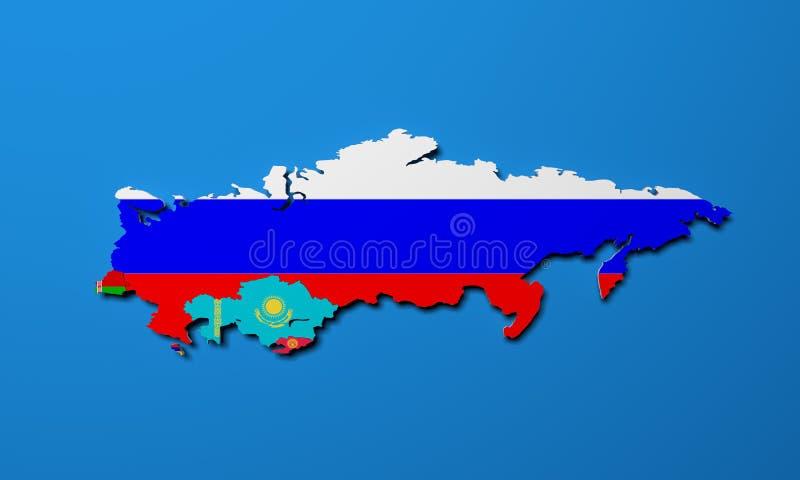 Mappa schematica degli stati membri dell'unione economica euroasiatica E illustrazione vettoriale