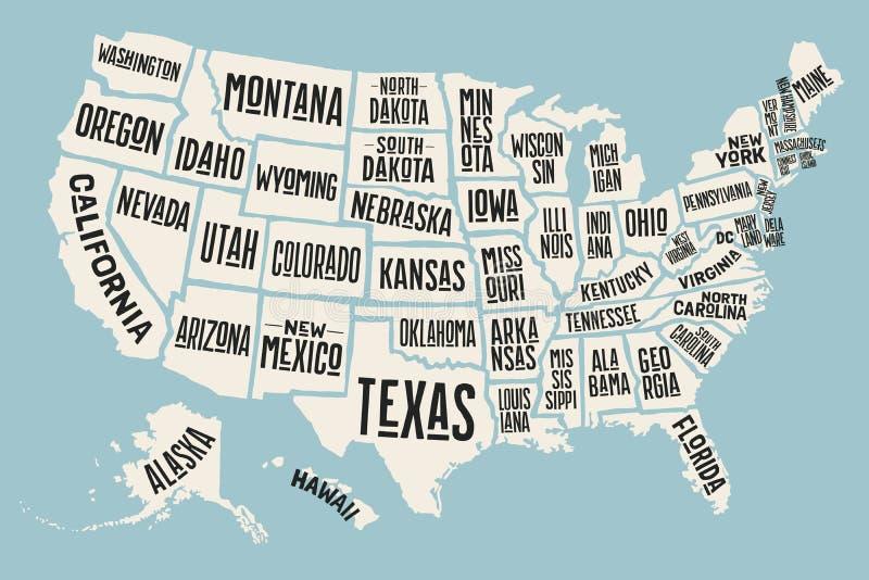 Mappa Stati Uniti d'America del manifesto con i nomi dello stato royalty illustrazione gratis