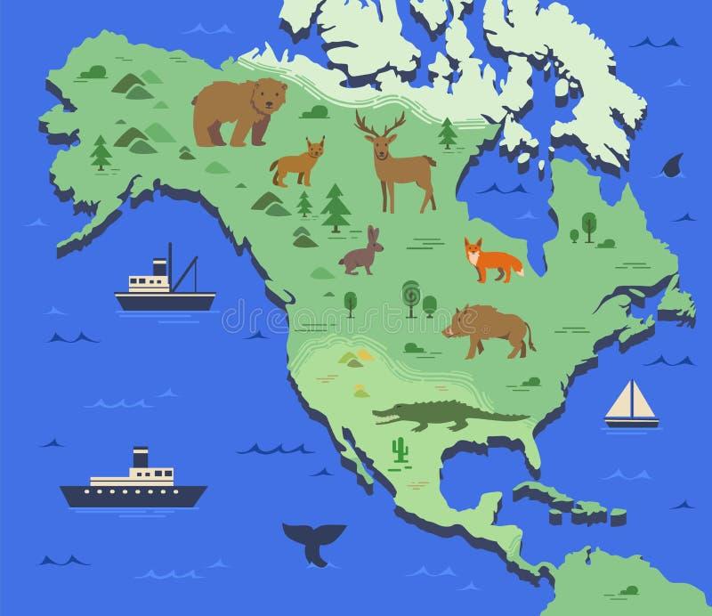 Mappa stilizzata di Nord America con gli animali indigeni ed i simboli della natura Mappa geografica semplice Vettore piano illustrazione vettoriale