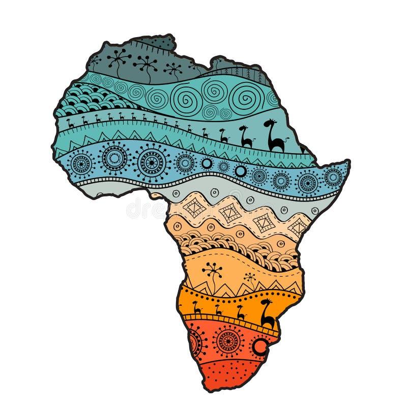 Mappa strutturata di vettore dell'Africa Modello disegnato a mano di ethno, fondo tribale Illustrazione di vettore Priorità bassa royalty illustrazione gratis