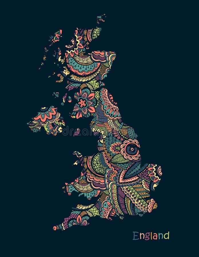 Mappa strutturata di vettore dell'Inghilterra Stile di disegno disponibile di scarabocchio dell'illustrazione royalty illustrazione gratis