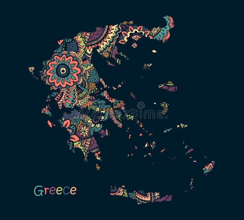 Mappa strutturata di vettore della Grecia Stile di disegno disponibile di scarabocchio dell'illustrazione illustrazione di stock