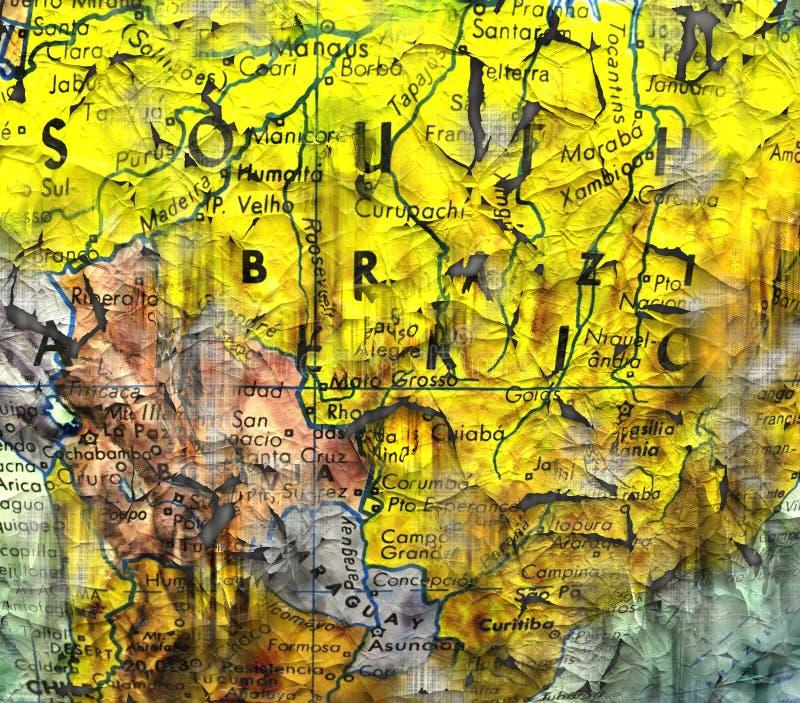 Mappa sudicia del Sudamerica illustrazione di stock