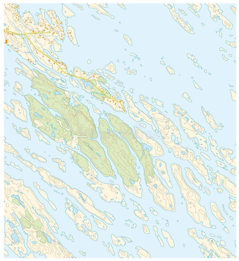Mappa topografica immaginaria del territorio con i fiumi, i laghi, le foreste e le strade royalty illustrazione gratis