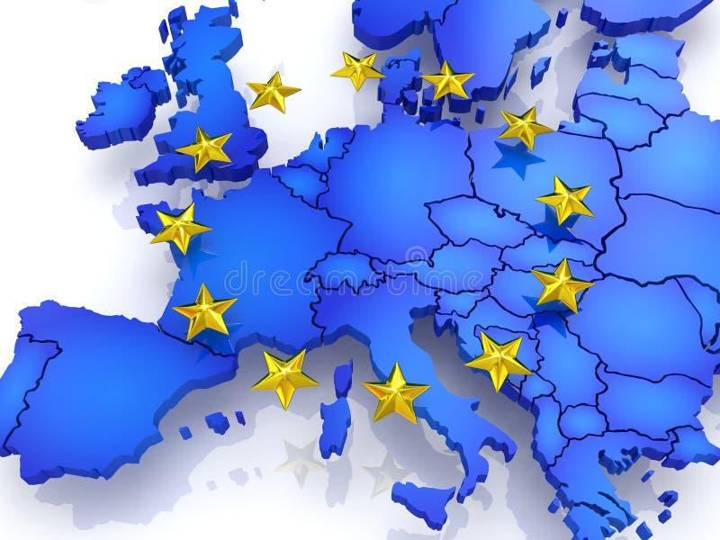 Mappa tridimensionale di Europa. illustrazione di stock