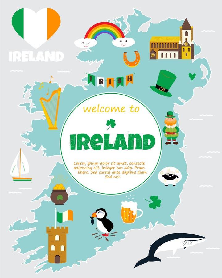 Cartina Turistica Irlanda.Mappa Turistica Dell Irlanda Con I Punti Di Riferimento Ed I Simboli Illustrazione Vettoriale Illustrazione Di Fumetto Carattere 99200949