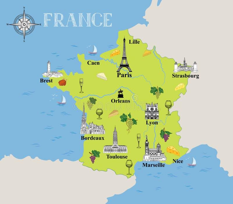 Mappa turistica della Francia Fondo gastronomico della destinazione di viaggio illustrazione di stock
