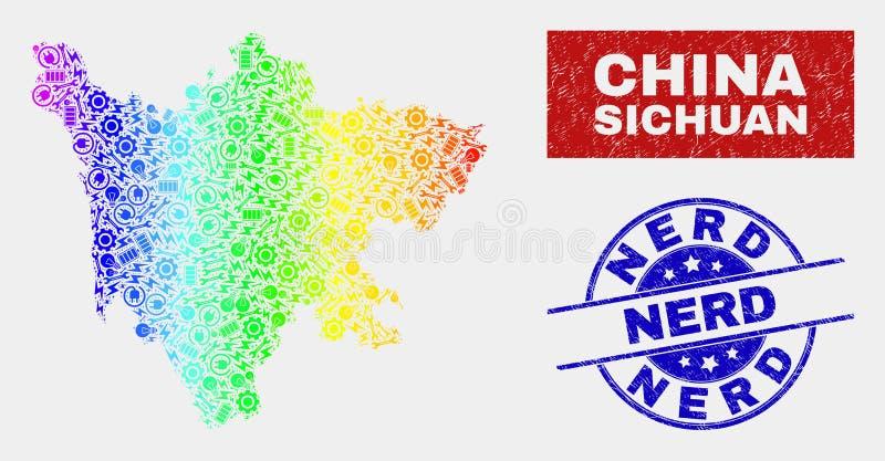 Mappa variopinta della provincia del Sichuan dell'Assemblea ed affliggere le filigrane del nerd illustrazione di stock