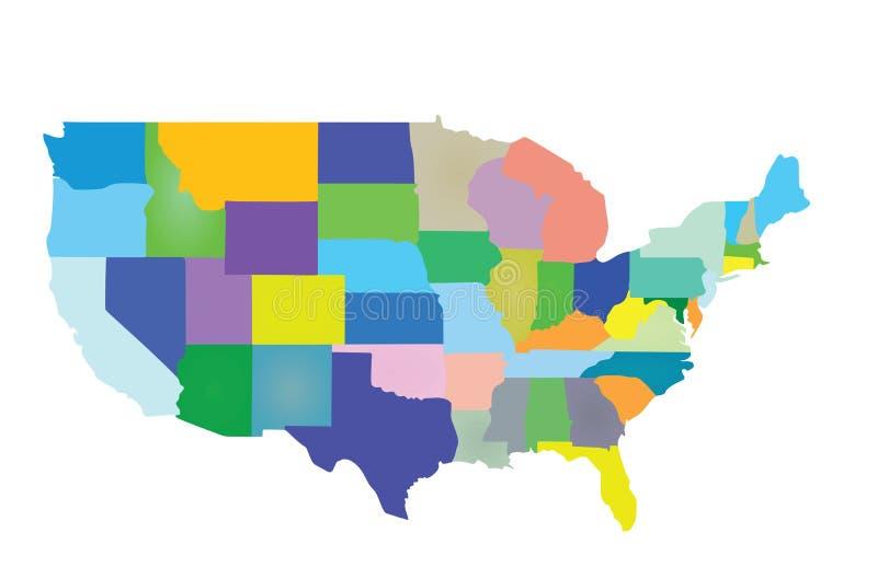 Mappa variopinta di U.S.A. con gli stati illustrazione vettoriale