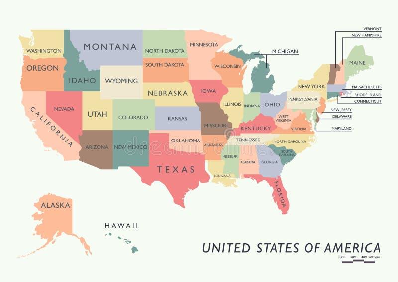 Mappa variopinta di U.S.A. con il nome degli stati royalty illustrazione gratis