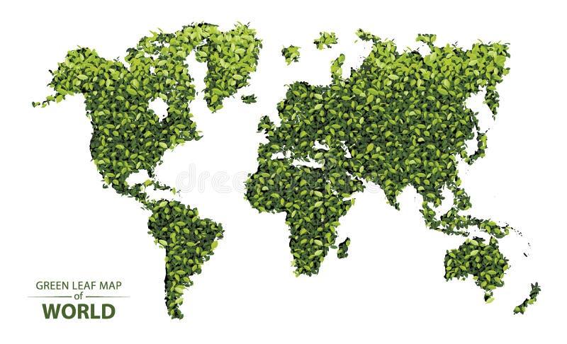 Mappa verde della foglia del mondo illustrazione vettoriale