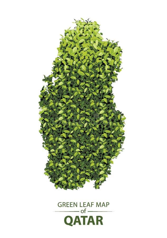 Mappa verde della foglia del Qatar illustrazione di stock