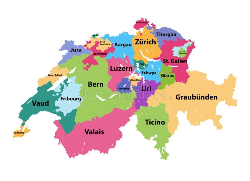 Cartina Politica Svizzera Cantoni.Mappa Vettoriale Della Svizzera Colorata Dai Cantoni Illustrazione Vettoriale Illustrazione Di Stampa Amministrativo 167953768