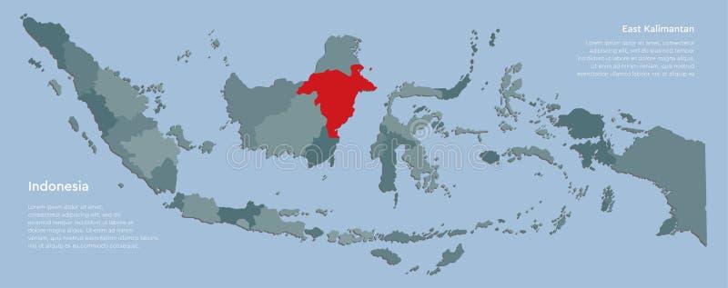 Cartina Indonesia Dettagliata.La Rossa Del Kalimantan Orientale Evidenziata Nella Mappa Dell Indonesia Illustrazione Di Stock Illustrazione Di Grigio Programma 166286145