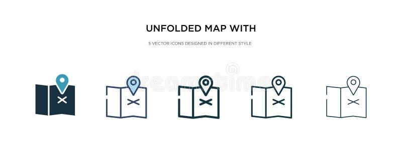 Mappage déplié avec icône de repère d'emplacement dans une illustration de vecteur de style différente deux cartes en couleur et  illustration libre de droits