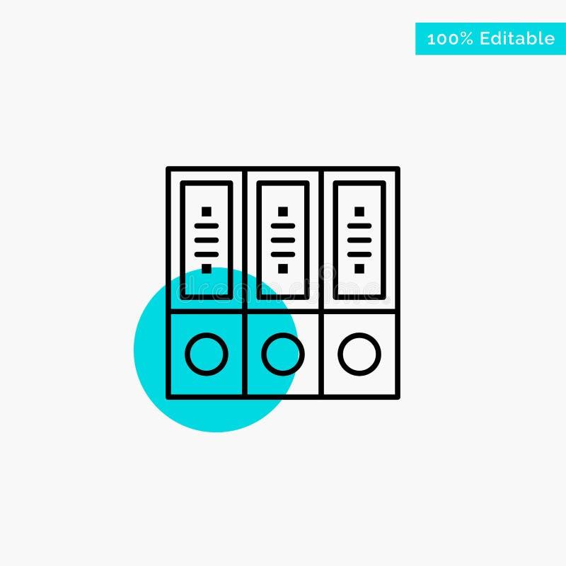 Mappar arkiv, data, databas, dokument, symbol för vektor för punkt för cirkel för mappturkosviktig royaltyfri illustrationer