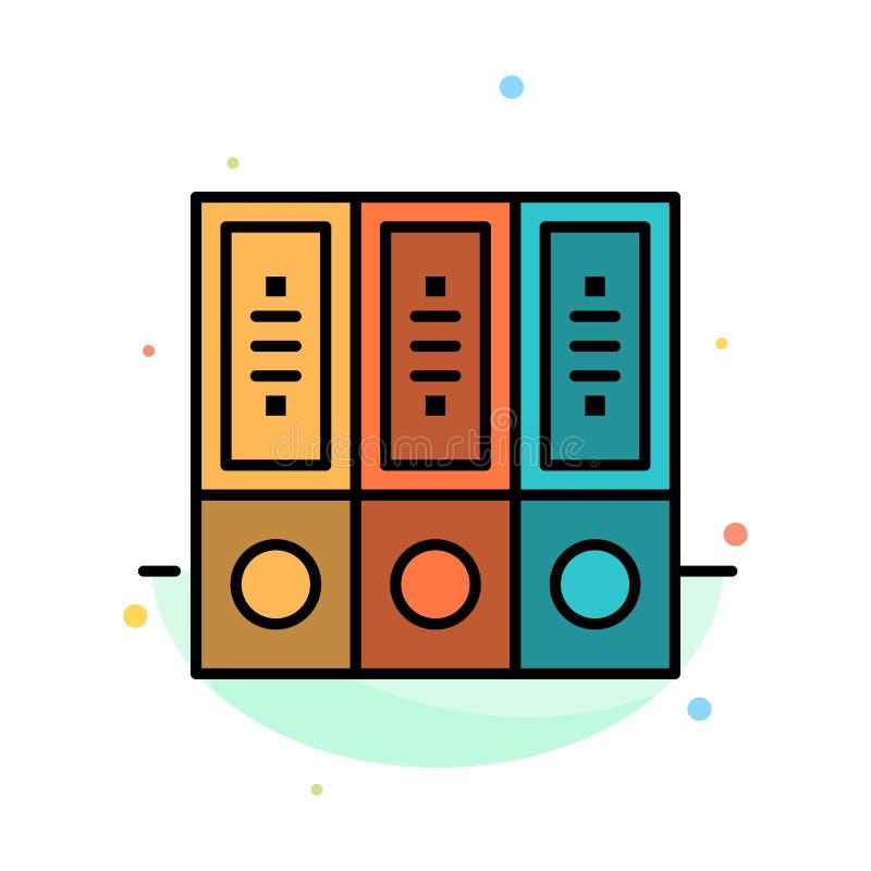 Mappar arkivet, data, databas, dokument, mappar gör sammandrag den plana färgsymbolsmallen stock illustrationer