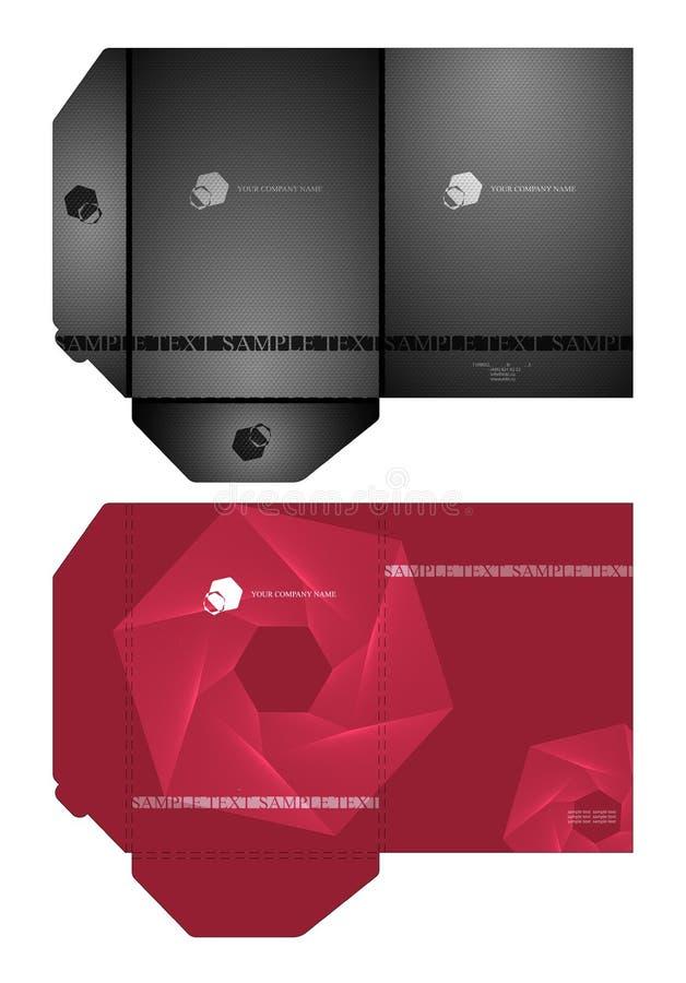 Mappar för företag med en röd och svart design royaltyfri illustrationer