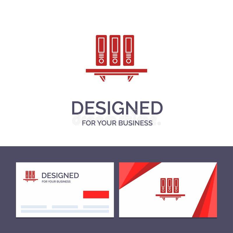 Mappar för idérik mall för affärskort och logo, arkiv, data, databas, dokument, mappar, lagringsvektorillustration royaltyfri illustrationer