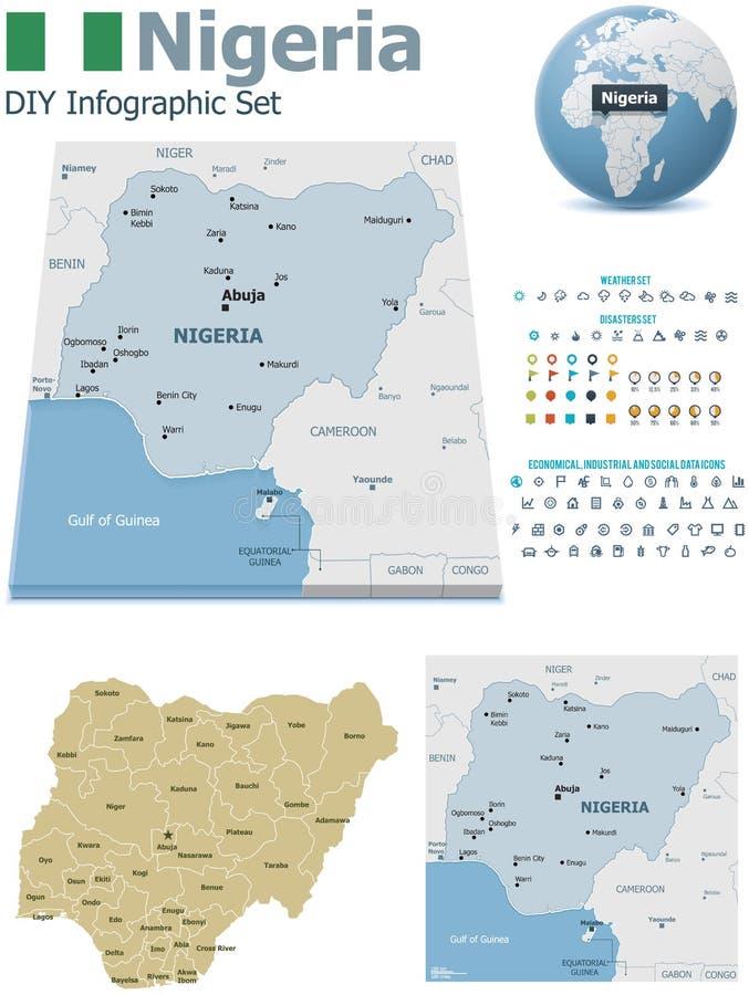 Mappe della Nigeria con gli indicatori illustrazione vettoriale