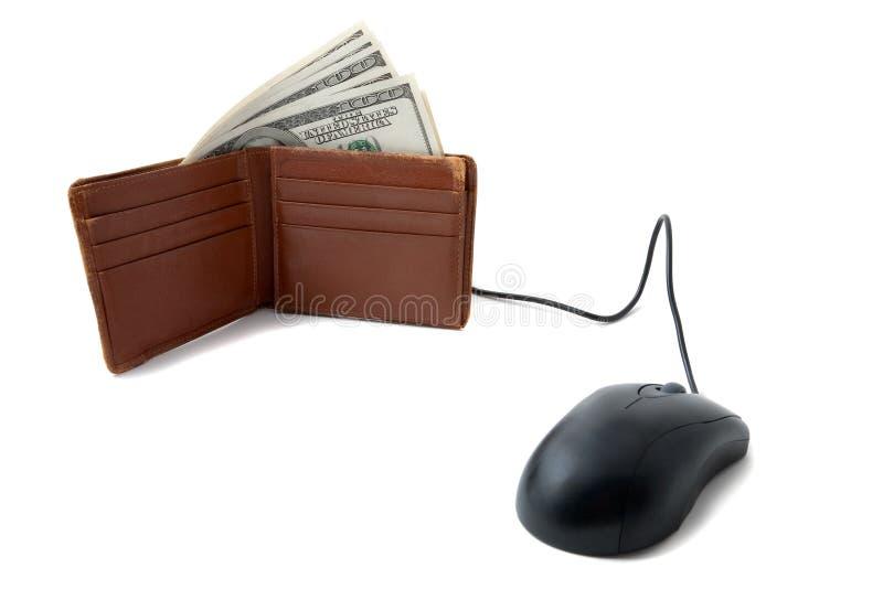 Mappe voll Geld mit Maus lizenzfreies stockbild