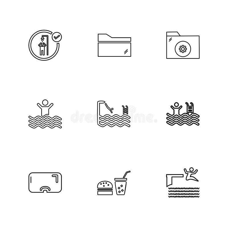 mappen mappar, sommar, stranden, picknicken, drinkar, eps-symboler ställde in royaltyfri illustrationer