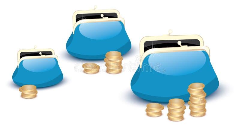 Mappen und Münzen stock abbildung
