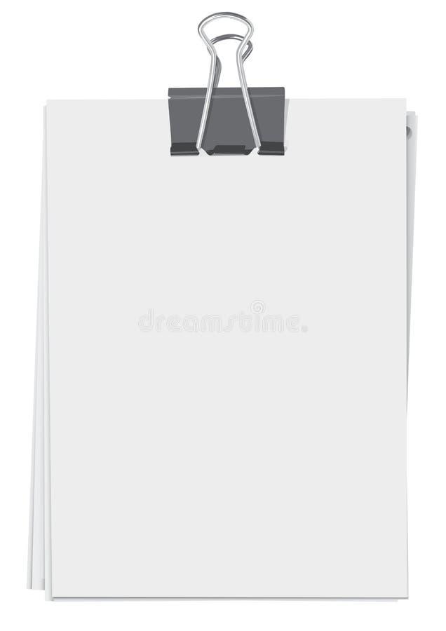 Mappenclip- und -papierblätter vektor abbildung