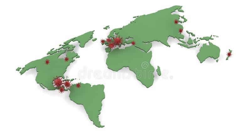 Mappi la descrizione delle posizioni dello scoppio di influenza dei maiali H1N1 royalty illustrazione gratis
