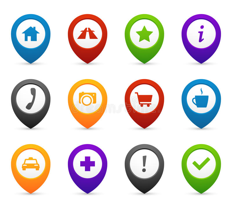 Mapping push pins with location icons for web and mobile application. Vector symbols set stock illustration