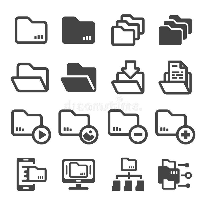 Mappsymbolsuppsättning stock illustrationer