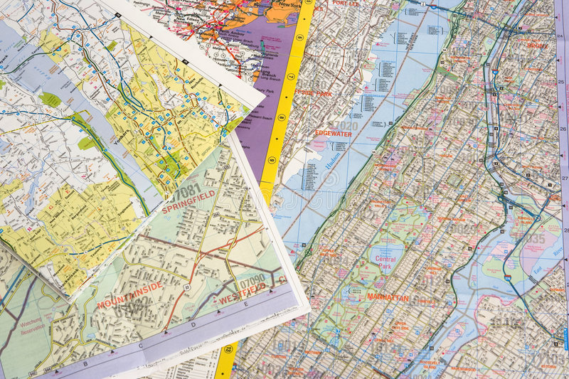Maps. Of NYC and suburbs stock photos