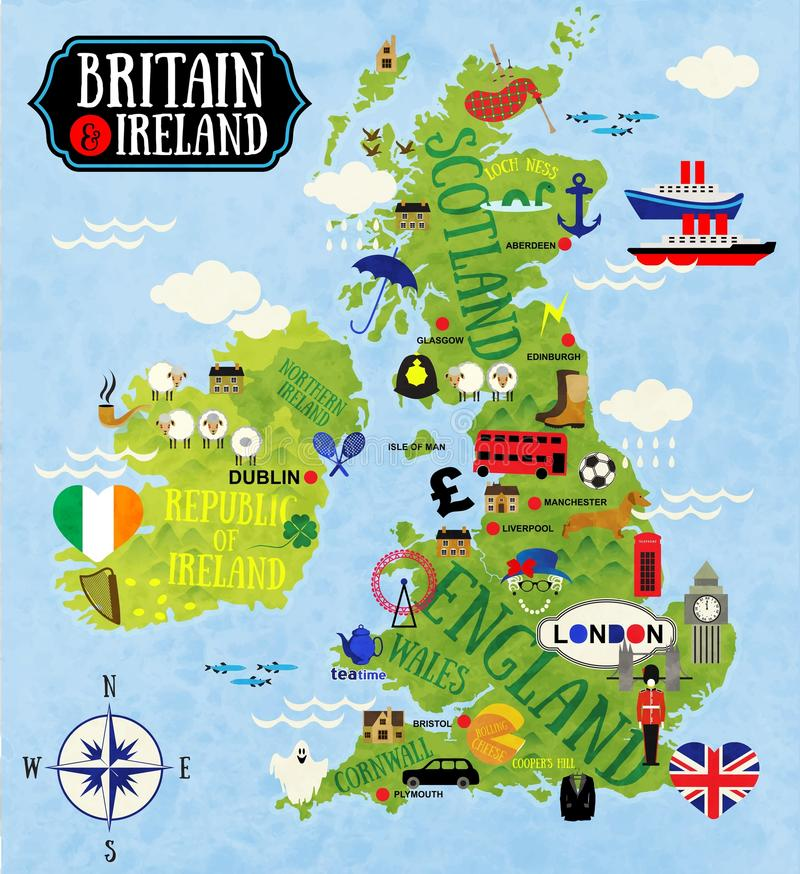 Maps of Britain and Ireland stock illustration