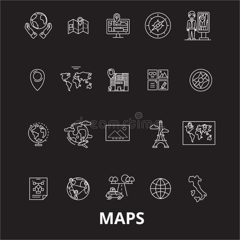 Maps editable line icons vector set on black background. Maps white outline illustrations, signs, symbols stock illustration