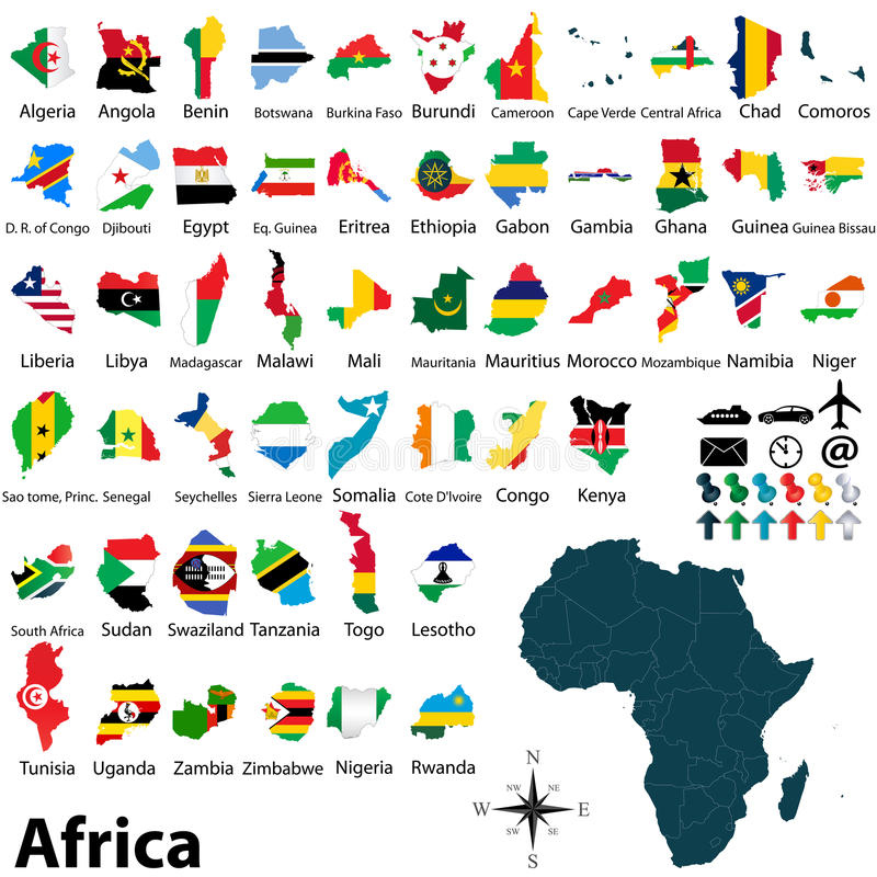 Maps with flags of Africa stock photography