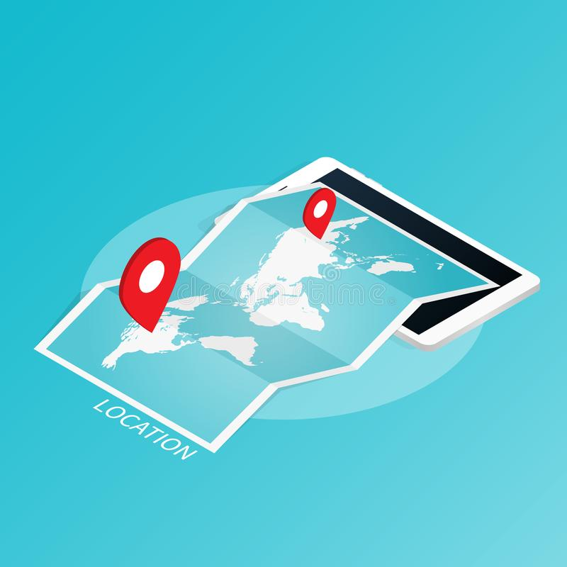 Maps & Navigation location,mobile application isometric vector royalty free illustration