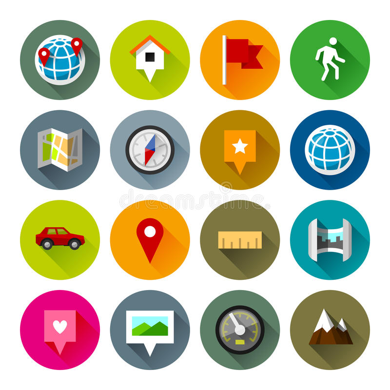 Maps and navigation icons – Fllate series royalty free stock photography