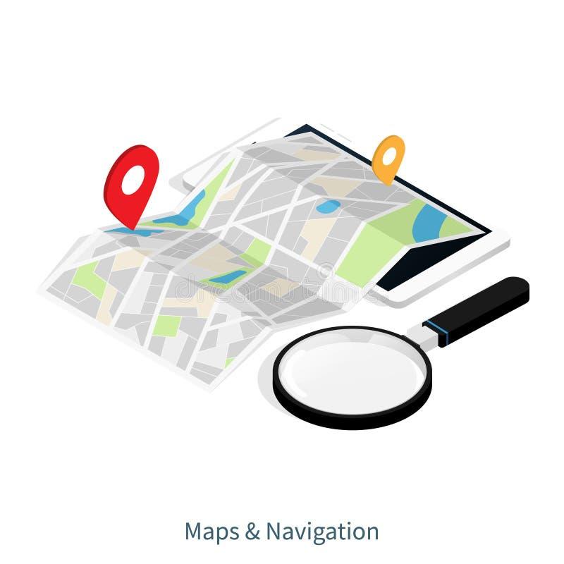 Maps & Navigation location,mobile application isometric vector stock illustration