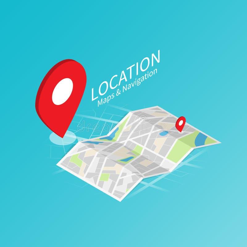 Maps & Navigation location,mobile application isometric vectorMaps & Navigation location,map paper isometric vector stock illustration