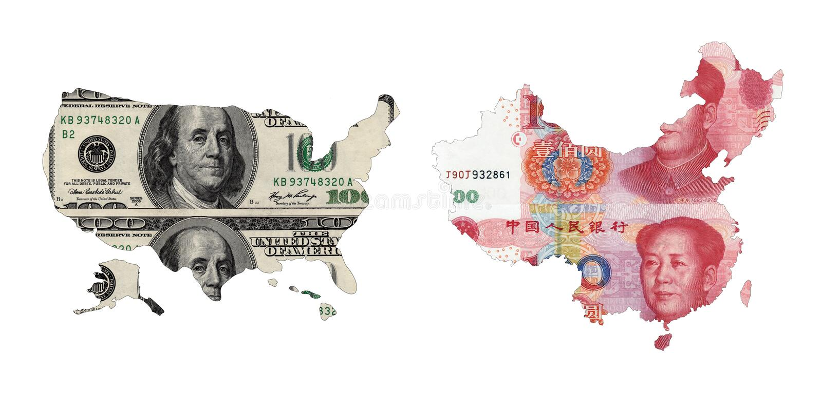 Maps of USA and China. Shaped by paper currency stock photo