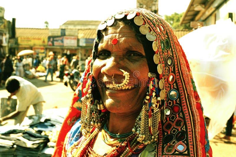 Mapusa för säljare för Karnataka damgata marknad Goa Indien royaltyfri foto