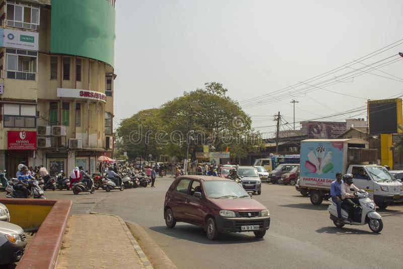 Indian street traffic at a crossroads in the city stock photos
